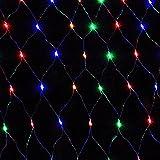 HJ® 204er LEDs Outdoor LED Lichternetz RGB Weihnachten Vorhang Lichterketten (2 x2 m, 8 Modi, IP44 Wasserdicht, Außenbeleuchtung)