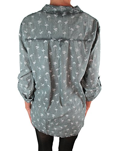 Damen Bluse Reine Baumwolle Vintage-Look Langarm Tunika Shirt Fischerhemd Batik Flamingo-Muster Loose-Fit Dunkelgrau