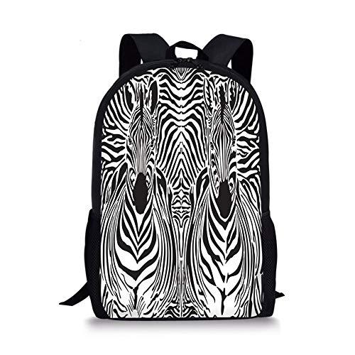 School Bags Zebra Print,Illustration Pattern Zebras Skins Background Blended Over Zebra Body Heads Decorative,Black White for Boys&Girls Mens Sport Daypack (Blended Oxford)