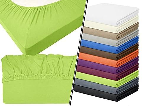 Jersey-Spannbetttuch in Top-Qualität - mit einer Steghöhe von ca. 35 cm - 100% Baumwolle - erhältlich in 6 verschiedenen Größen und 12 ausgesuchten Farben, 1 Stück - Jersey-Spannbetttuch ca. 90-100 x 200 cm,