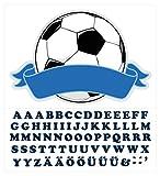 Wandtattoo Kinderzimmer Türaufkleber Fußball mit Name für Jungen