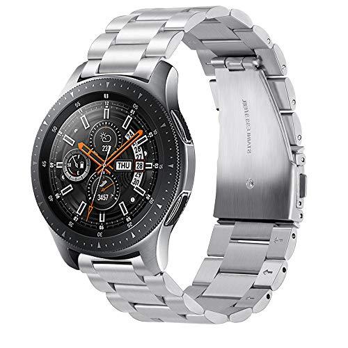 Leafboat Pulsera Compatible Samsung Galaxy Watch 46mm, 22 mm Pulsera con Correa de Repuesto en Acero Inoxidable clásico para Hombres y Mujeres, Correa Adecuada para Galaxy Watch 46-Silver