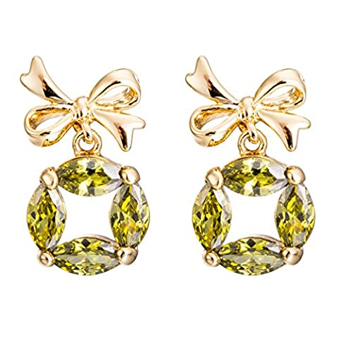 YAZILIND Elegant Bow Tie Gold Plated Green Round Cubic Zirconia Stud Earrings for Women