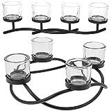 LS Design Kerzenständer Kerzenhalter Kerzenschale Teelichthalter Ohne Dorn 4 Gläser Schwarz 50cm