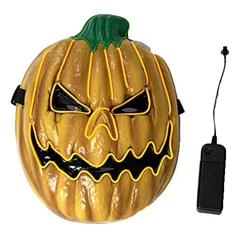 Yisily 1 Set Halloween Kürbis-Maske Light Up Masken Scary El Drahtmaske für Erwachsene für Kinder Halloween-Party-Dekorationen Cosplay Kostüme Requisiten (Hip Hop Tanz Kostüm Für Jugendliche)