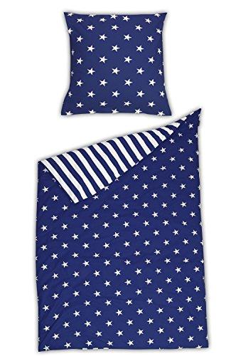 Schiesser Feinbiber Bettwäsche Sterne blau/versch. Größen / 2-teilig / 100% Baumwolle