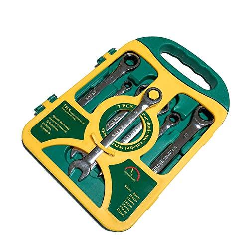 Open-end Ratchet Wrench (GJTOOL 7PCS Ratchet Wrenches set auto repair tool set open end wrenches Silver)