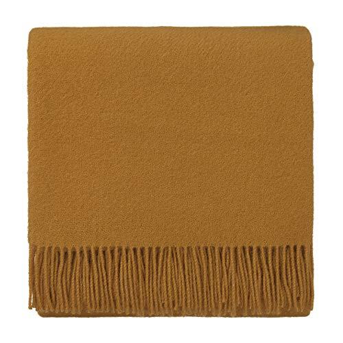 URBANARA 130x190 cm Lammwolldecke 'Miramar' Senfgelb - 100% Reine Lammwolle - Ideal als Überwurf, Plaid oder Kuscheldecke für Sofa und Bett - Warme Wolldecke mit Fransen