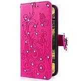 Uposao Kompatibel mit iPhone 5S / iPhone SE Handytasche Handy Hülle Schmetterling Blumen Bling Glitzer Diamant Muster Klapphülle Flip Case Cover Schutzhülle Brieftasche Leder Tasche,Hot Pink