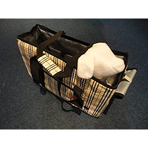 Borsa trasportino per cani grande, doppio uso, motivo: stampa plaid