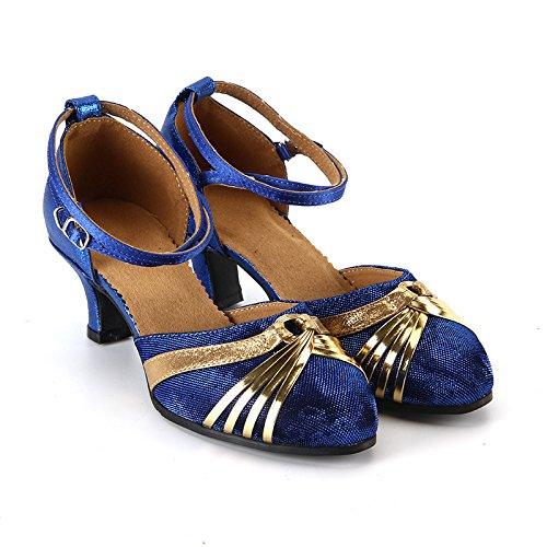 XPY&DGX Latino blu scarpe da ballo adulto ladies scarpe da ballo square Charumba scarpe da ballo estate nuova danza moderna fondo morbido, 8 235MM