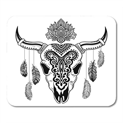 Gaming Mauspad Longhorn Tribal Animal Skull Ethnic Ornaments Mexican Tattoo Western Buffalo 11.8