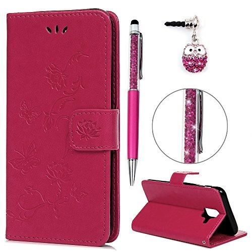 A6 2018 Hülle Case, Filp PU Leder Wallet Handyhülle Flipcase : Bookstyle Druck Lotus Schmetterling Tasche Schutzhülle für Samsung Galaxy A6 2018 Rose Rot + Pen + Plug