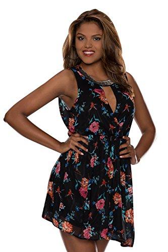 4146 Fashion4Young mini-robe sans manches pour femme en chiffon robe en tissu élastique 3 coloris disponibles taille 36/38 - Schwarz Multicolor