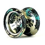 Authentic MAGIC YOYO & Yostyle M002 professionale in alluminio Yo-yo palle con 5 stringhe e guanti, per i bambini regalo, Nero Verde e Giallo