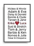 Kunstdruck Fine Art LIEBE 1 berühmte Paare Geschenk moderne Vintage Poster Print Plakat Deko Bild ohne Rahmen DIN A4 personalisiert