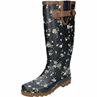 Northwest Territory Rubber Wellington Floral Print Navy Blue Long Boots Blossom