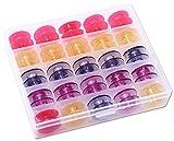 25 bunte Husqvarna Spulen in praktischer Box,) für Prelude, Scandinavia, Platinum, 400, 500, Lily, Daisy, Topaz, Ruby, Designer