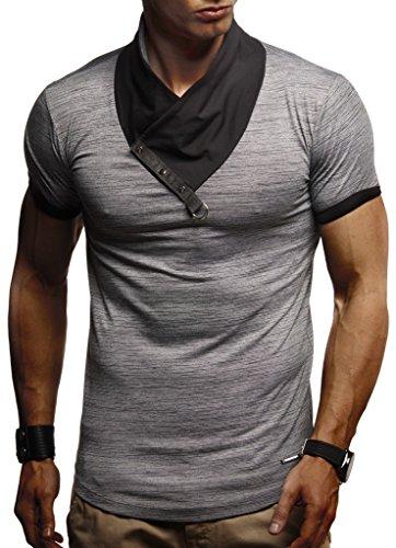 LEIF NELSON Herren Jungen T-Shirt Hoodie Stehkragen Ausschnitt Kurzarm Longsleeve modern Basic Shirt StehkragenVintage |