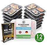Meal Prep Container {10+2 Pack} 3-Fach Containers | Stabil, Qualitativ Hochwertig Food Box | Stapelbar Bento dosen | Wiederverwendbar, Microwellen-, Gefrierbox- und Spülmaschinenfest + gratis eBook!