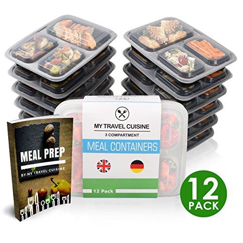 Meal Prep Container [10 + 2 GRATIS Pack + E-Book] 3 Fächer Containers, Kunststoff Bento Food Box mit Deckeln für die Lagerung von Lebensmitteln | wiederverwendbar und luftdicht, BPA-freier Kunststoff - Rezepte Gefrierschrank