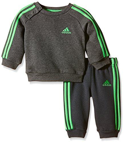 adidas Baby Jogginganzug 3-Streifen, Grau/Grün, 80, AB7008