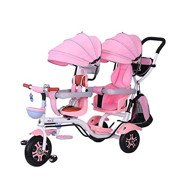 CHEERALL Double Children's Tricycle 4 in 1 Trike, Twin Stroller Comfort Two-Seat 3 Wheel Bicycle for Kids with Rotatable Seat, Baby Infant Child Trolley for Age from 6 Months to 6 Years,C CHEERALL 4 in 1 MULTIFUNCTION:The canopy and safety bar can be removed when kids grows, suitable for 4 childhood stages:Guided, Learning, Developing and Independent, besides, the foot pedals can be used as footrests for early stages. SECURITY:Kids trike frame is made of high quality materials. Baby tricycle passed the 3C certification: non-toxic test, flame resistance test and durability test.Suitable for children from 12 months to 6 years. ROTATABLE SEAT & ADJUSTABLE CANOPY:The two seats can be rotated 360°, let the baby play face-to-face in the travel to add fun, positive implementation, and enjoy the outdoor scenery more fun.Adjustable awnings allow you to adjust the different opening modes of the awning depending on the weather. 1