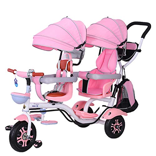 CHEERALL Double Children\'s Tricycle 4 in 1 Trike, Twin Stroller Comfort Two-Seat 3 Wheel Bicycle for Kids with Rotatable Seat, Infant Child Trolley for Age from 6 Months to 6 Years,C
