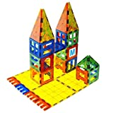 Mag-Genius MGS-01-123 Magnet Tiles 3D Brain Building Blocks Set of 120 Pieces 13 New Plastic Fun Clickins includes 2 Cars and Free Storage Bin, 123 Pieces