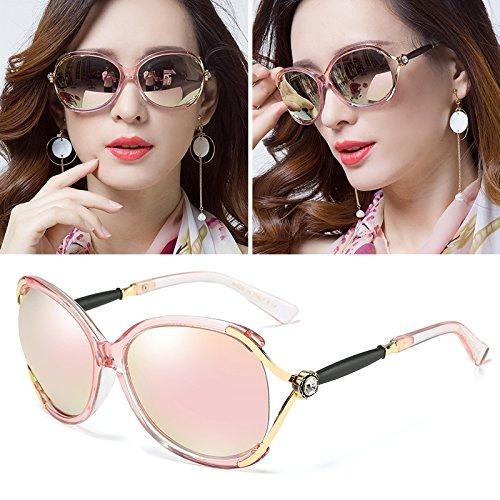 Sunyan Das Elegante High Gloss Sonnenbrille rundes Gesicht mit Sternen, Sonnenbrille Frau Tide, Rose Gold + HD High optische Linse