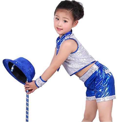 Byjia Kinder Sequins Jazz Tanz Kostüme Jungen Mädchen Kinder Bühne Aufführungen Jugend Komfort Hip Hop Studenten Chor Party Party Cheerleading Gruppe Team Blue 130Cm