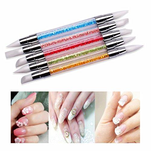 Cisixin 5 Stück Silikon Nail Pinsel Set für UV Gel und Acryl Nailart/Nageldesign