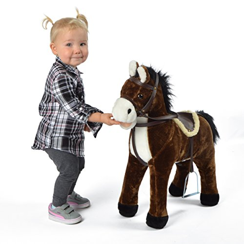 Pink Papaya Plüschpferd XXL 60 cm - Stehpferd Timmy - Fast lebensgroßes Spielpferd zum Drauf sitzen bis 100 kg belastbar, mit verschiedenen Sounds, Spielzeug Pferd zum Träumen Toys - Lebensgroße Plüsch-pferd