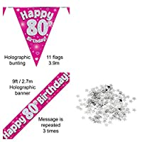 Everyoccasionpartysuppplies 80th Birthday Decoration Kit Banner Bunting Confetti Pink Men Women Him Her