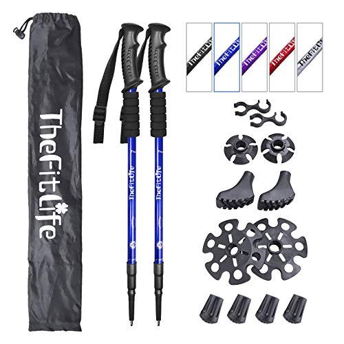 TheFitLife Bastoni da Trekking e Camminata Nordica - Confezione da 2 Pezzi con Ammortizzatore e Sistema di Blocco Rapido, Telescopico, Estensibile, Ultraleggero per Escursionismo Campeggio - Blu