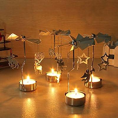 Waymeduo Rotary Tea Light Carousel Tealight Candle Holder Deer Pattern from Waymeduo
