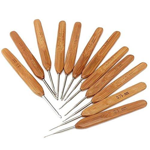 mark8shop 12Größen Bambus Pullover Schal Bay Hat Häkelnadeln DIY Stricken Craft Nadel Werkzeug