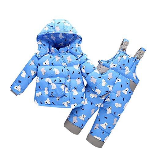 Kinder Winter Schneeanzug Kind Bib Pants - Kleinkind Lange Ärmel Unten Jacke Warm Hoodie Oberbekleidung Unisex Schnee Hosen (90cm Blau)