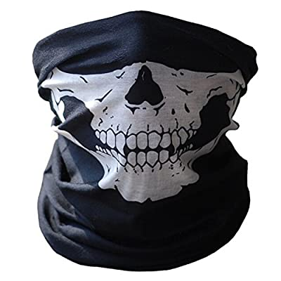 Skull Tubular Protective Dust Mask Bandana Motorcycle Polyester Scarf Face Neck Warmer for Snowboard Skiing Motorcycle Biking