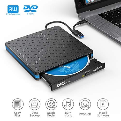 Lecteur DVD Externe Type-c et USB 3.0, Apiker Graveur DVD Externe CD avec Transmission Rapide Câble USB/Type C +/-RW ROM Player Compatible Windows/Mac OS/Vista/Linux pour iMac/Macbook Pro/Macbook