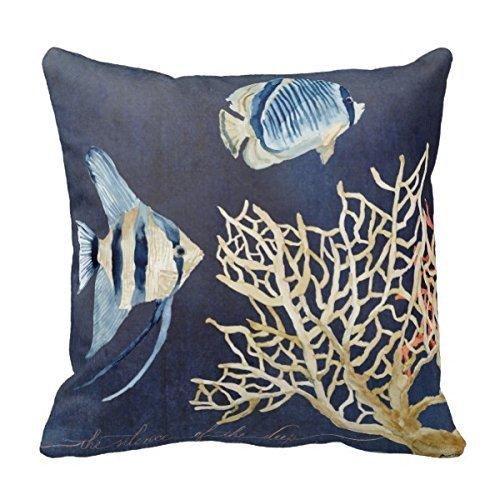 BHWYK Designer, Original, Home Decorations, Coastal Ocean Shore Pattern Pillow Covers Decorative Pillowcases 18 x 18 Decorative Cushion Covers