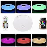 Deckenleuchte mit Fernbedienung und Bluetooth Lautsprecher HOREVO IP65 Spritzwasserdichte Farbwechsel Deckenlampe, Warmweiß/Kaltweiße Badezimmerleuchte Badezimmerlampe Test