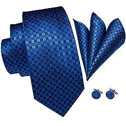 Hi-Tie Männer Klassische Blau Krawatte mit Manschettenknöpfe und Einstecktuch Krawattenset