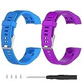 Turnwin for vivosmart HR+ Bands, Replacement Bands & Screws Tool for Garmin vivosmart HR+ Bracelet Smart Wristband Wireless Activity Bracelet Sports Bracelet Arm Band Armband, Blue+Purple