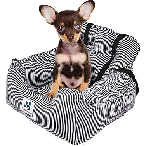 TOPONE Hunde Autositz,kleine Hunde Weicher Waschbarer Rutschfester Hundesitz für Auto mit Abnehmbare HundeKissen Katze Reisen Front Booster Sitze (Schwarz-Weiss)