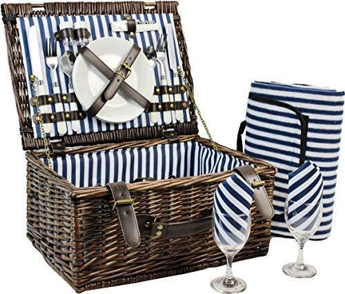 Inno stage cestino da picnic in vimini per 4persone, in salice, cestino di servizio, set regalo per campeggio e feste all'aperto, vimini, for 2