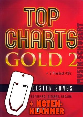 Top Charts Gold 2 (+ 2 Playback-CDs) inkl. praktischer Notenklammer - Die 40 besten Songs arrangiert von Robbie Williams, Tokio Hotel, James Blunt und vielen anderen für Klavier, Keyboard, Gitarre und Gesang (Top Charts Gold) (Taschenbuch) (Noten/Sheetmusic)