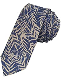 TED BAKER London Mens 100% Woven Silk Slim Skinny Neck Tie Necktie Blue White Tropical Leaves