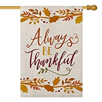‏‪AVOIN Always be Thankful House Flag Vertical Double Sized, Fall Thanksgiving Harvest Yard Outdoor Decoration 28 x 40 Inch‬‏