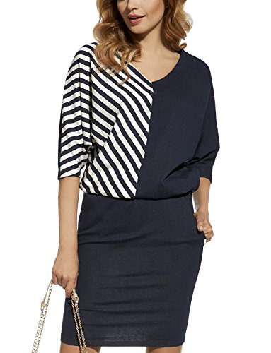 Ennywear 220076 Robe Manches 3/4 Non-Doublée Deux Couleurs Business Look Mini Top Qualité – Fabriqué En UE bleu marine-blanc